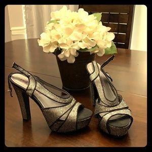 Black and sparkly silver heels